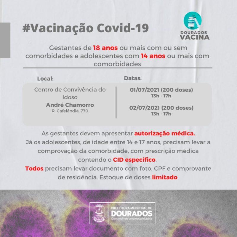 Imunização de gestantes e adolescentes com comorbidades será retomada amanhã